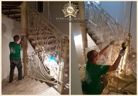 Кованые перила в частном доме